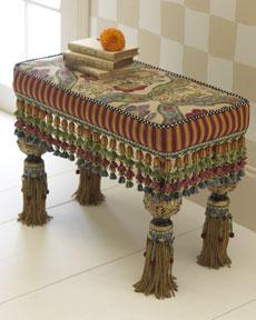 MacKenzie Childs Florentine Tassel Bench