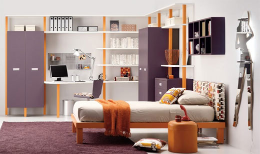 Teen-girl-bedroom-with-modern-bed-wardrobe-shelves-cabinet-and-chair